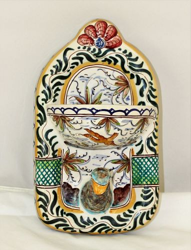 Portuguese Ceramic Bird shape Soap Dish & Towel Hanger