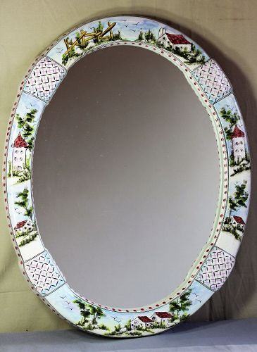 Portuguese Ceramic Oval Mirror, Hand Painted house, fence