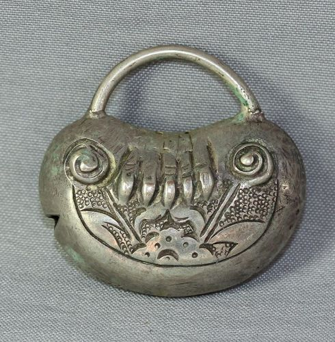 Chinese Silver Pendant, Pouch shape