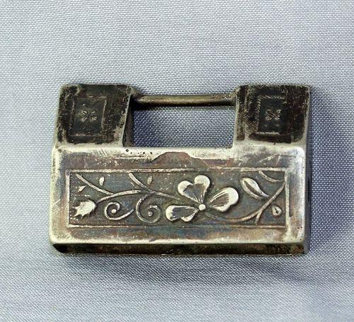 Chinese Silver Pendant, Lock shape