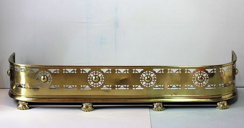 19th C. English Brass Fire Place Fender