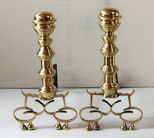Pr. American Empire period Brass Andirons, 19th C.
