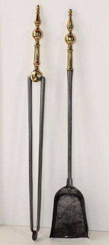19th C. 2 pieces polished Brass & Steel Fire Place Tools,Tongs, Shovel