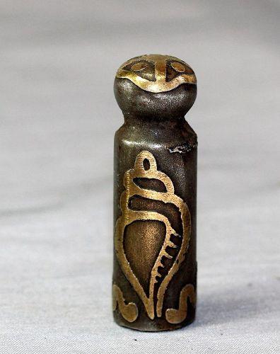 Himalayan Metal Chop, Seal, Brass Conch Shell inlaid