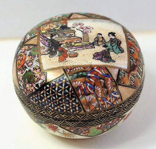Japanese Satsuma Earthenware covered Container Box