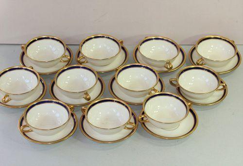 Eleven(11) Lenox Porcelain Cobalt Blue & Gold Cream Soups & Saucers