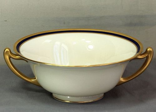 Lenox Porcelain Cobalt Blue & Gold 2 handle Open Serving Bowl