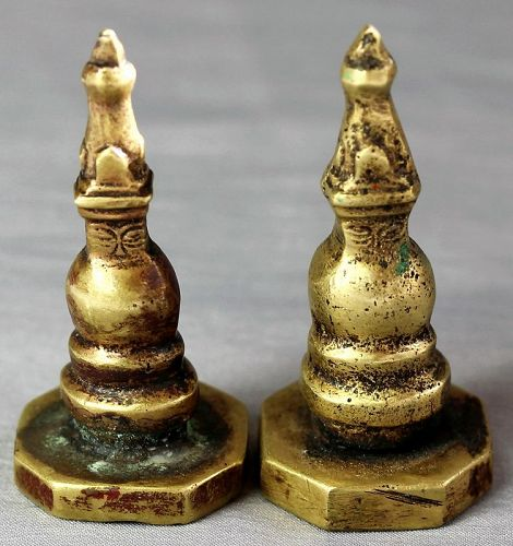 Pr Himlayan Brass Stupa Seals, Chops