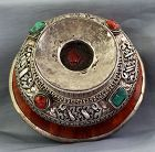 Tibetan Silver & Burlwood Tea &Tsamba Bowl, Inset Coral,Turquoise