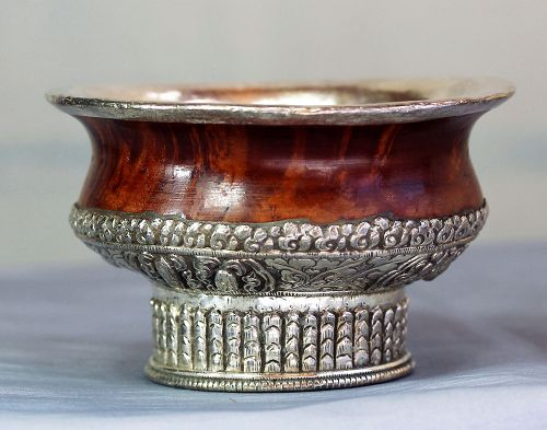 Tibetan Silver over Burlwood Tea Bowl, Silver Shell bottom