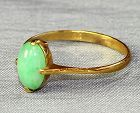 Chinese Natural Green Jadeite Jade Cabochon & 14 K Yellow Gold Ring