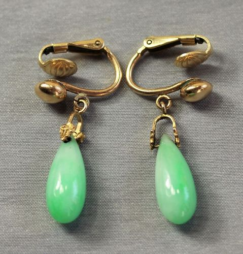 Pr. Chinese Natural Green Jadeite Jade & 14K Gold Tear Drop Earrings