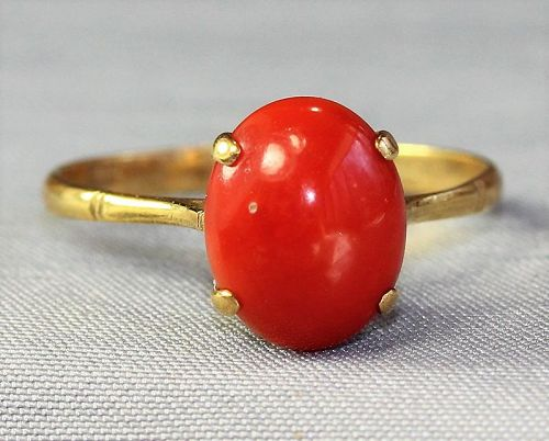Natural Coral Cabochon & 14K Gold Ring