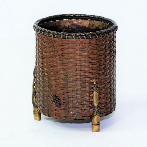 Japanese Bronze woven Pot with loose Metal Cicada
