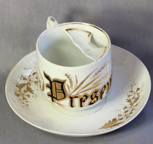 "Porcelain Mustache Mug, or Cup with letter ""Present"""