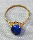 Lapis Lazuli Cabochon & 14 K Gold Ring, size 6
