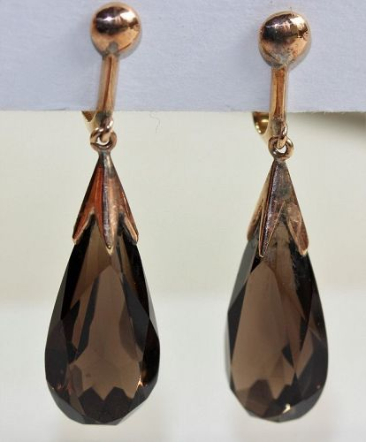 Pr. Vintage Natural Smoky Topaz Earrings,  tear drop with 14K Gold