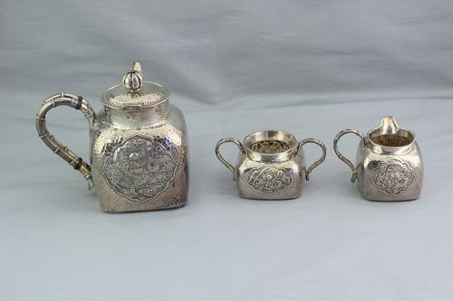 Chinese Export Silver Dragon hand hammered 3 piece Tea set