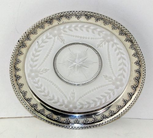 Sterling Silver Rim & cut etched Crystal Dish or Coaster