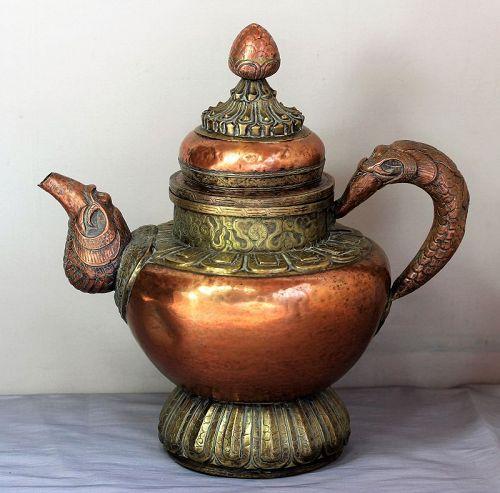 Tibetan Copper & Brass Makala  large Ewer, Tea Pot
