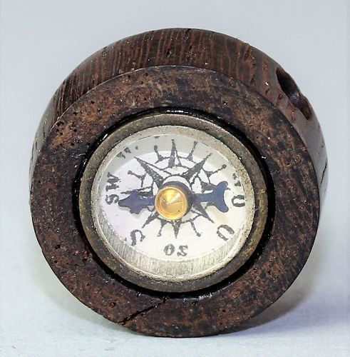 Japanese Wood Compass Ojime, 19th C. Meiji