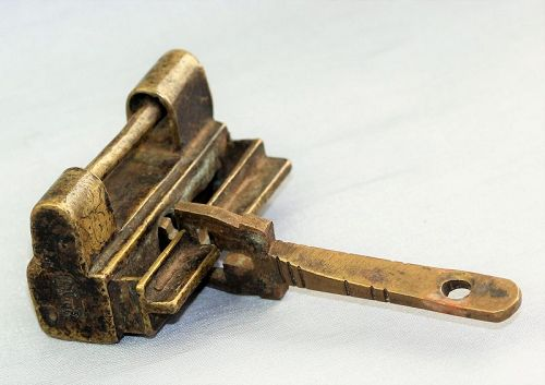 Chinese Brass Lock & Key,  signed & inscribed Chinese design