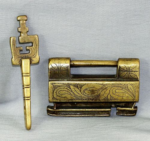 Chinese Brass Lock & Key, etched design of double gourd and leaves