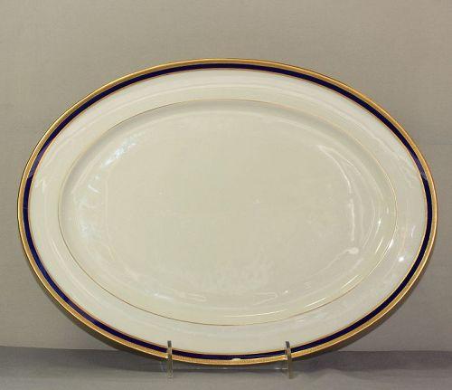 Lenox Porcelain Cobalt Blue & Gold rim large Serving oval Platter
