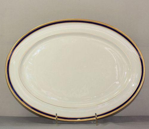 Lenox Porcelain Cobalt Blue & Gold rim oval Serving Platter
