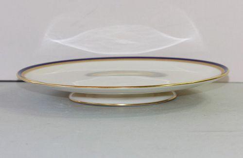 American Lenox Porcelain Cobalt Blue & Gold rim Compote, Cake Plate