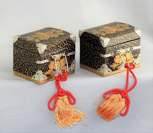 2 Japanese Hina Doll Miniature Boxes, Lacquer on Wood
