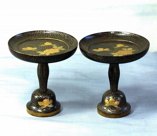 2 Japanese Hina Doll Miniature Stands, Lacquer on Wood