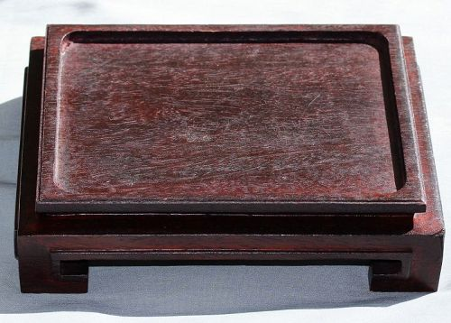"Chinese Hardwood Rectangle Stand, made in ""Hong Kong"""