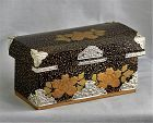 Japanese Hina Doll Miniature Kimono Trunk, Lacquer on Wood