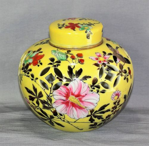 Japanese Nippon Porcelain Potpourri Jar with Cover