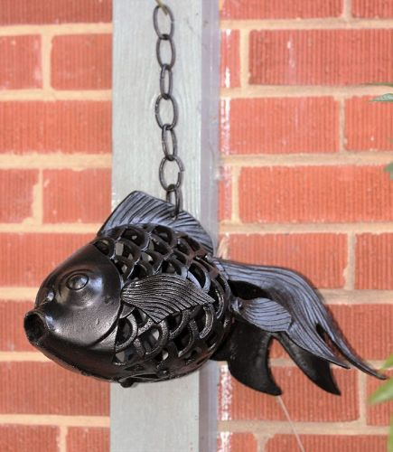 Black Lacquered Metal Garden hanging Fish