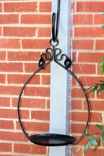 Black Lacquered Metal Hanging Flower Pot Holder