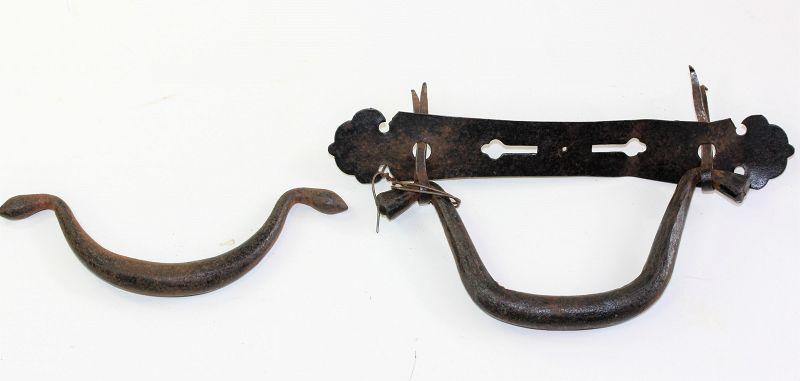 2 Japanese Black Wrought Iron Tansu Drawer Handles