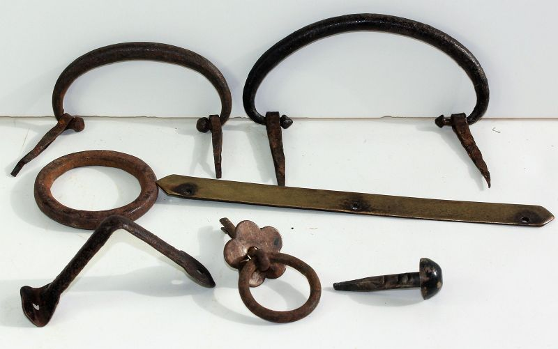 Japanese Tansu Black Wrought Iron & Brass Hardware, total 7 pieces