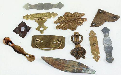 Japanese Brass Furniture Hardware, 12 pieces hinges, corners