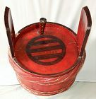 Japanese Red Lacquer on wood large Sake Barrel