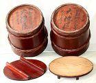 Pair Japanese Cedar Wood Merchant Miso Storage Tubs, Barrels