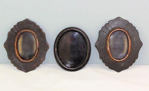 3 Japanese Bronzed on Copper Door handles, hardware