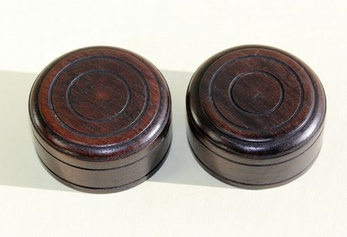 2 Chinese carved Round Wood Top or Cover for Tea Jar or Tea Cover