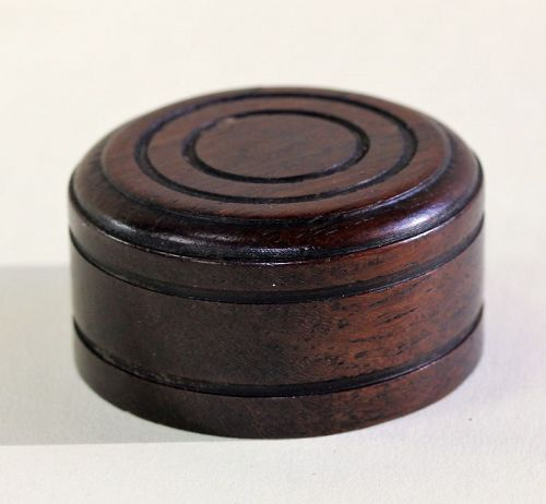 Chinese carved Wood round Top or cover for Tea Jar or Tea Caddy