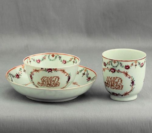 Chinese Export Porcelain Famille Rose 3 pieces Tea set, Initialed