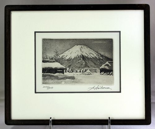 """Norikame Hiroto"" Mt. Fuji in Snow Etching in frame, ""204-500"""