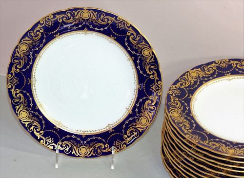 11 English Derby Porcelain Dinner Plates by Tiffany, cobalt blue, gold
