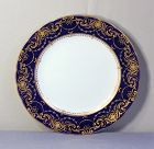 11 English Derby Porcelain Dinner Plates by Tiffany, cobalt blue, gold