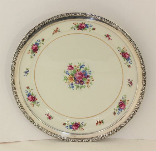 Lenox Porcelain Rose Design & Sterling Rim large Charger Platter